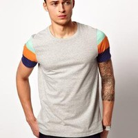 ASOS T-Shirt With Printed Stripe Sleeve