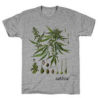 Weed Leaves Sativa Athletic Grey Unisex T Shirt