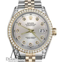 Rolex 36mm Datejust Gold & Stainless Steel Silver Color Diamond Dial Men's Watch