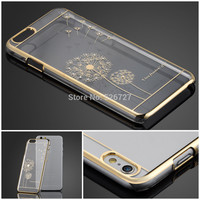 Ultra Slim Luxury Crystal Diamond Bling Transparent Electroplate Back Case Cover For Apple iPhone 6 4.7 inch Phone case