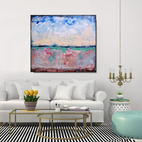 Large Abstract Art Original Painting Modern Art/Abstract Landscape Square Large Painting/ Wall Art Canvas Contemporary Art, Christovart