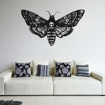 kik1123 Wall Decal Sticker death's-head moth butterfly living room bedroom