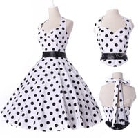 Vintage Halter Polka Dot Swing 50s Housewife pinup Retro Circle Dress