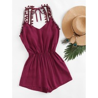 Float On Embroidered Open Back Romper - Burgundy