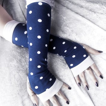 Set Sail Arm Warmers - Navy Blue White Polka Dots Cotton - Yoga Nautical Pin Up Rockabilly Gothic Bohemian Boho Gypsy Cycling Light Hipster