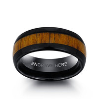 JewelOra Personalized Engrave Wood Shape Tungsten Steel Ring Fashion Jewelry Men Rings For Party Size 9
