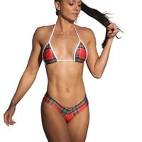 Red Plaid Print Two Piece Short Set-Stripper Clothing