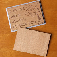 Mother's Day Card with Envelope, Gift Idea, Wood, Lasercut