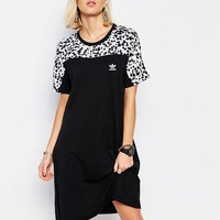 Adidas Woman Fashion Snow leopard Casual T-shirt Dress