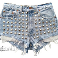 Sophisticated Edge High Waisted Studded Denim Shorts/ Plus Sizes Available!
