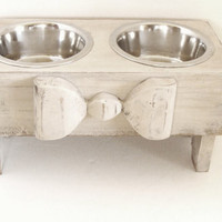 Wood Bow Dog Feeder Pet Feeding Bowl Holder Elevated Dog Bowl Feeder Raised Pet Feeder Cat Bowl Custom Antique White Cottage Beach
