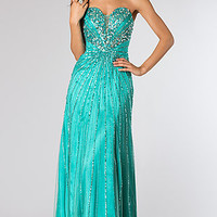 Strapless Cascading Sequin Prom Dress