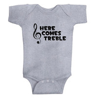 """Cute """"Here Comes Treble""""-3 COLOR options- baby- Onesuit- Clothing-infant-music-treble clef-The Office-TV show"""
