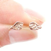 Tiny Angel Wings Feather Shaped Stud Earrings in Rose Gold | DOTOLY