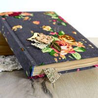 Handmade floral notebook Handmade journal with roses Vintage journal Flavored notebook Fabric covered book Old paper journal Blank pages