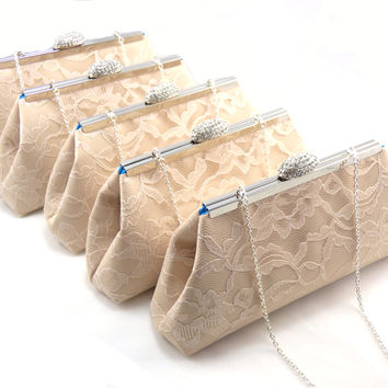 Set of Five Champagne and Blue Jewel Bridesmaid Gift Clutches 5% Off
