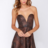 All Good Things Strapless Copper Dress