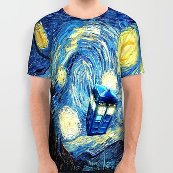 Soaring Blue phone Box oil painting All Over Print Shirt by Greenlight8