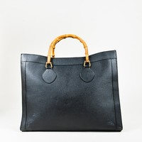 VINTAGE Gucci Black Leather Bamboo Handle Tote Bag