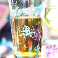 Teal and Silver Zodiac Pint Glass