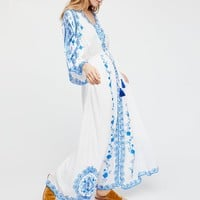 Royal Blue Embroidery Maxi Dress Button V-Neck Women Dresses Drawstring Waist Kimono Sleeves Casual Dress