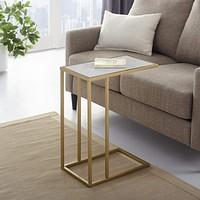 """20"""" C-Table - White Faux Marble/ Gold"""