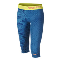 Nike Pro Fitted Graphic Girls' Capri Pants Size Large (Blue)