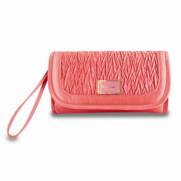 Vintage Allure Coral Foldover Hanging Cosmetic Bag