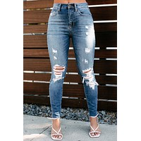 With Certainty High Rise Distressed Skinny Jeans (Medium Light)