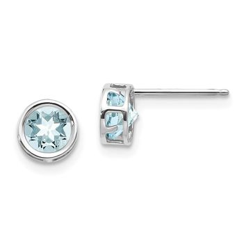 14k White Gold 5mm Round Aquamarine Bezel Set Earrings