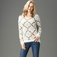 Colorful Wires Knit Plaid Sweater