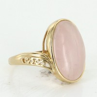 Rose Quartz Vintage Cocktail Ring 10 Karat Yellow Gold Estate Fine Jewelry Sz 5
