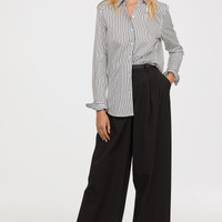 Cotton Shirt - White/black striped - Ladies | H&M US