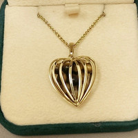 14K Caged Heart Pendant Tigers Eye Gold Enhancer Slide Charm 5.5 Grams Italy Italian Vintage Tiger's Stone Jewelry 4 Necklace OOAK Gift Mod