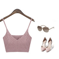Crochet Strappy Camis Knitted Crop Top