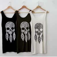black or green or white tank dress with skull print