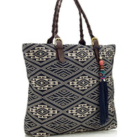 Ecru Ikat Woven Bag | Green | Accessorize