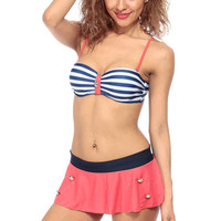 Sexy Sailor Ruffled Skirt Push Up Two Piece Swimsuit