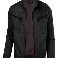 LE3NO Mens Cotton Zip Up Military Biker Jacket with Pockets (CLEARANCE)