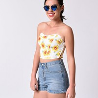 1970s Style White Sunflower Floral Strapless Crop Top | Unique Vintage