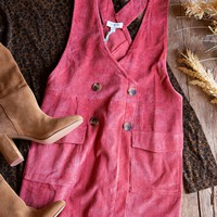 Amelia Corduroy Overall Dress, Red Clay