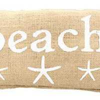 """""""BEACH"""" French Country Burlap Accent Pillow - White Print with Starfish - 6-in x 12-in"""