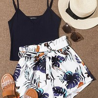 Rib-knit Cami Top & Belted Tropical Shorts Set