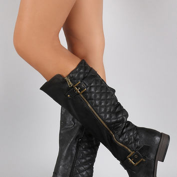 Bamboo Quilted Side Zipper Round Toe Riding Knee High Boot