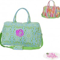 Monogrammed Eva Large Duffle in Camden and Splash prints at The Pink Monogram