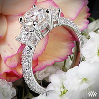 """18k White Gold """"Rounded Pave"""" 3 Stone Engagement Ring"""