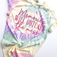 Memories Will Outlast The Mess Tee - Haze Tie Dye w/ Pink Print