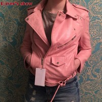 New Arrival 2018 brand Winter Autumn Motorcycle leather jackets yellow leather jacket women leather coat  slim PU jacket Leather