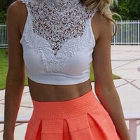 White Lace Cutout-Back Crop Top