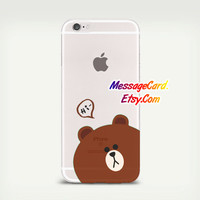 Cute Bear Clear Phone Case Cover for iPhone 6 6s plus , 6 6s , 5s 5 , 4s 4 , Pressed Clear iPhone 6 6s Case , Custom Clear iPhone 6 6s Case